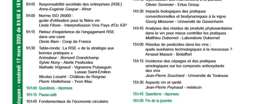 Matinée des oenologues de Bordeaux - Les oenologues face aux nouveaux défis (de la RSE).